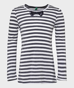 United Colors of Benetton Crew Neck All Over Stripe T-Shirt With Sequins Bow Detail Off White