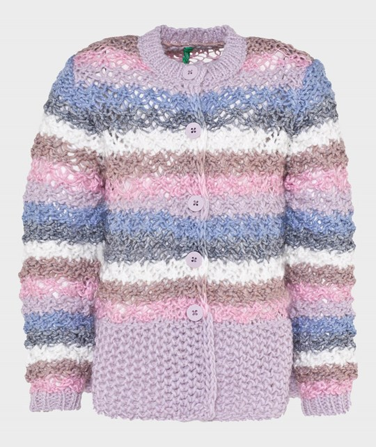 United Colors of Benetton Crew Neck Multicoloured Knit Cardigan With Buttons Pink Pink