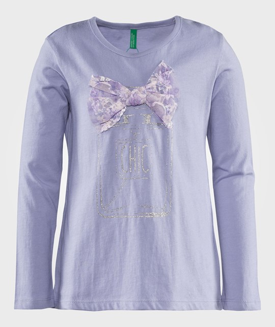 United Colors of Benetton L/S Cotton T-Shirts With Bow Detail At The Neck And Design Over Front Lilac Lilla