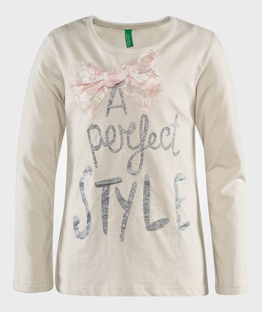 United Colors of Benetton L/S Cotton T-Shirts With Bow Detail At The Neck And Design Over Front Light Beige Beige
