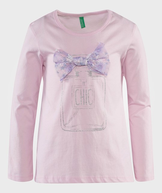 United Colors of Benetton L/S Cotton T-Shirts With Bow Detail At The Neck And Design Over Front Pink Rosa