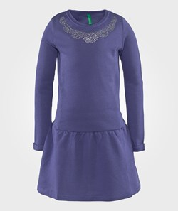 United Colors of Benetton L/S Cotton Dress Jewel Details Around The Neck Blue