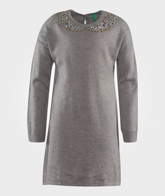 United Colors of Benetton L/S Wool Dress Jewels Embroidered Collar Grey Grey