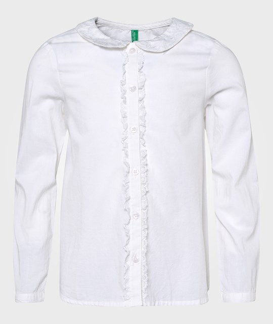 United Colors of Benetton L/S Button Up Shirt Lace Neck Off White Vit