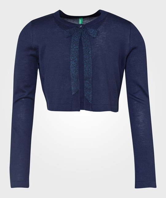 United Colors of Benetton L/S Half Body One Button With Bow Detail Navy Blå