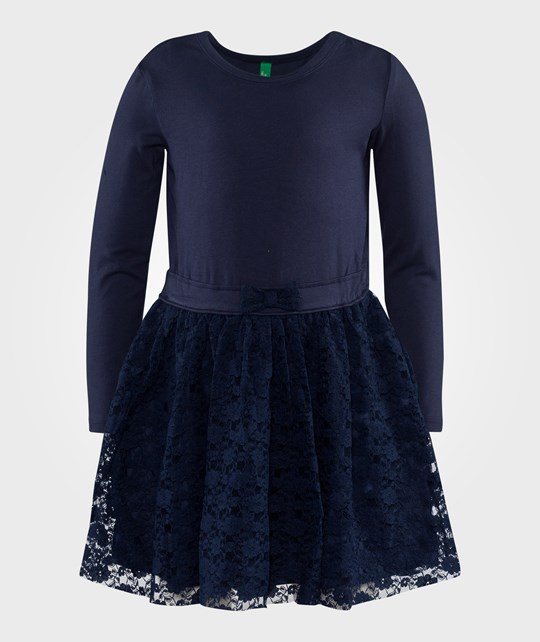 United Colors of Benetton Floral Lace Jersey Dress  Navy Blå