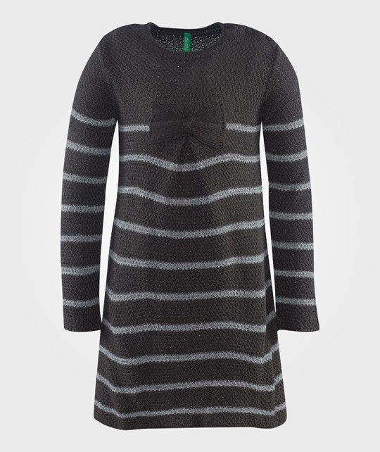 United Colors of Benetton Knit Stripe Dress With Bow Detail Grey Grå