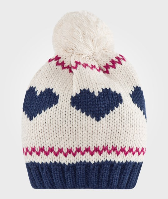 United Colors of Benetton Two Coloured Knitted Bobble Hat Heart Design In The Middle White Vit