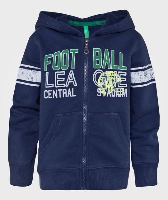 United Colors of Benetton Zip Up Hoody With Writing On The Front And Pockets Navy Blue