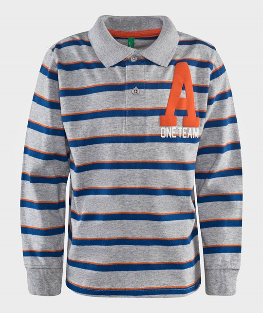 United Colors of Benetton Stripy Polo Shirt L/S With Writing Grey серый