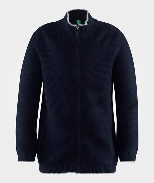 United Colors of Benetton Knitted Zip Up Sweater With A High Neck Navy Blue
