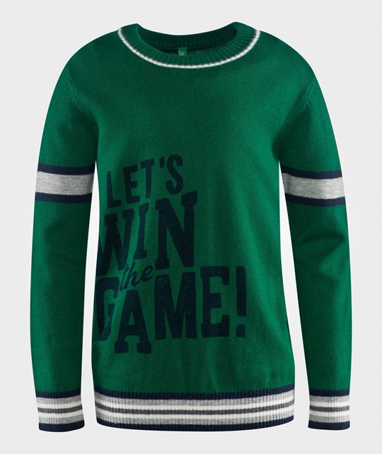 United Colors of Benetton Round Neck Sweater With Writing On The Front Green Green