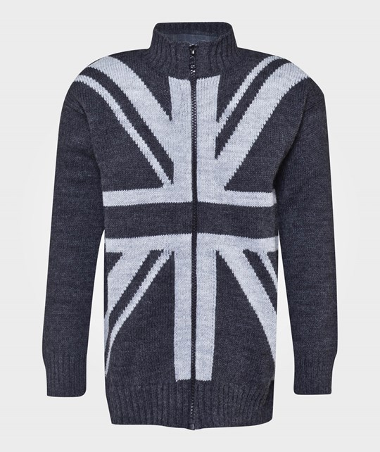 United Colors of Benetton Zip Up Cardigan Flag Motive Grey Grå