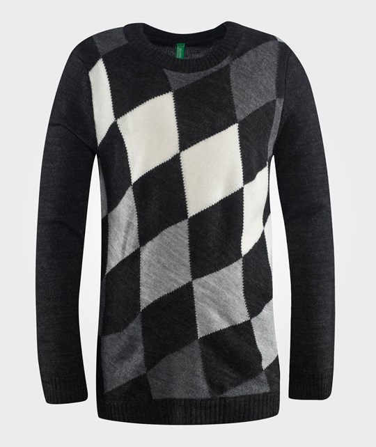 United Colors of Benetton Wool Jumper With Squares Printed All Over It Charcoal Grey Grå