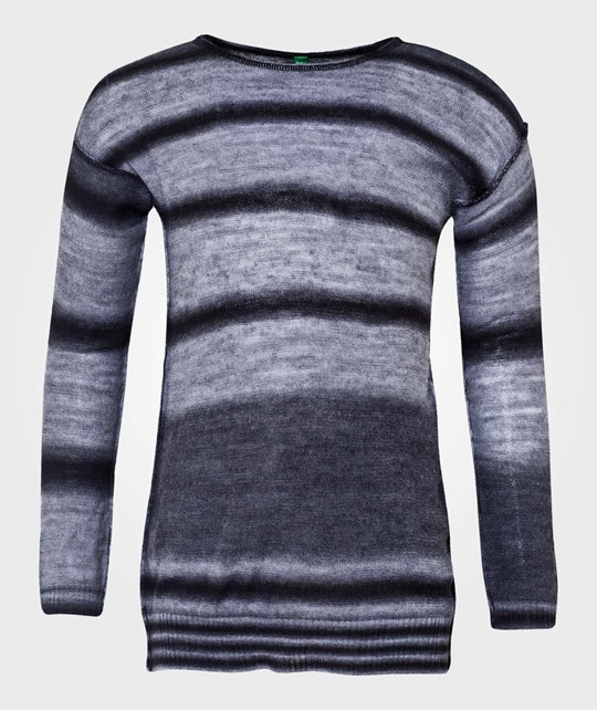 United Colors of Benetton Striped Knit Crew Neck Jumper Black Black