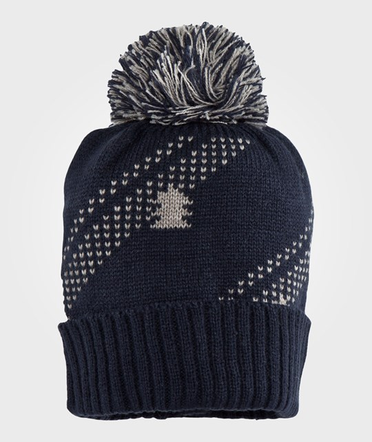 United Colors of Benetton Knitted Hat With Bobble Navy Blue