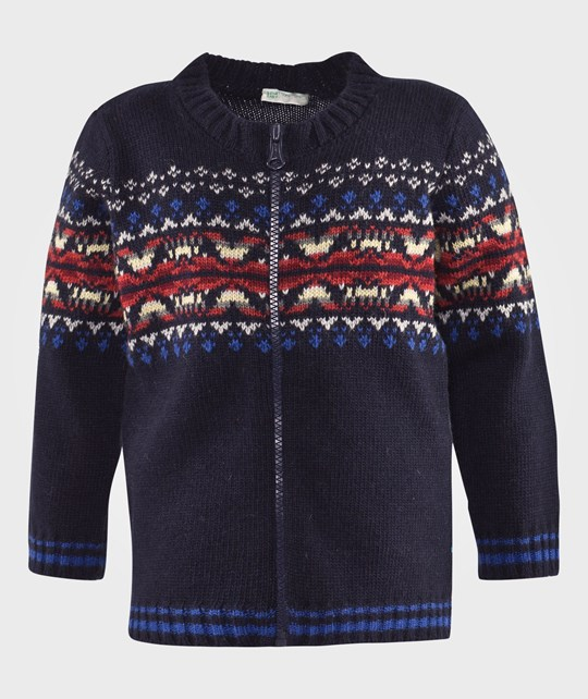 United Colors of Benetton Zip Through Cardigan With Aztec Design Navy Blue