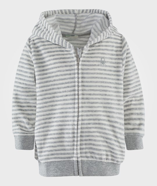 United Colors of Benetton Grey Stripy Velour Hoodie With Ears   Grey