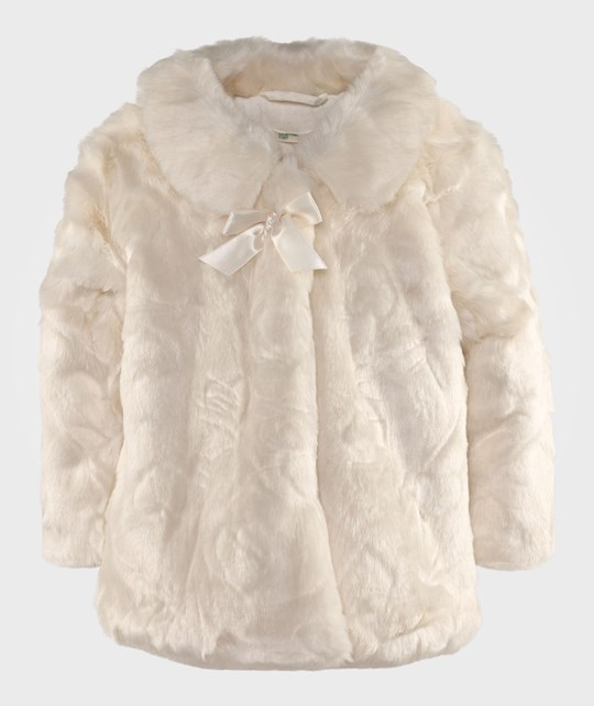 United Colors of Benetton Faux Fur Heart Jacket With Bow Off White Hvit