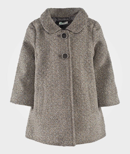 United Colors of Benetton Peter Pan Collar Two Button Coat Beige Beige