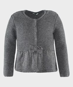 United Colors of Benetton Peplum Cardigan With The Bow Detail Grey