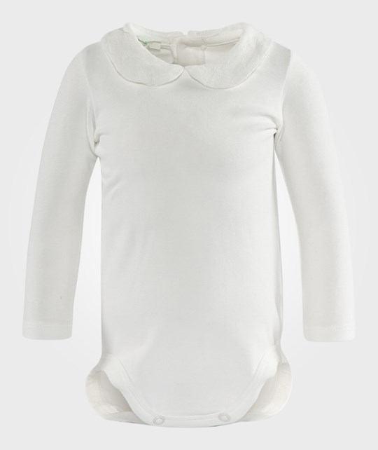 United Colors of Benetton Girls Bodysuit With Peter Pan Collar Off White White