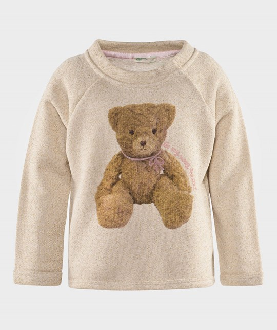 United Colors of Benetton Bear Jersey Sweat Top Off White Белый