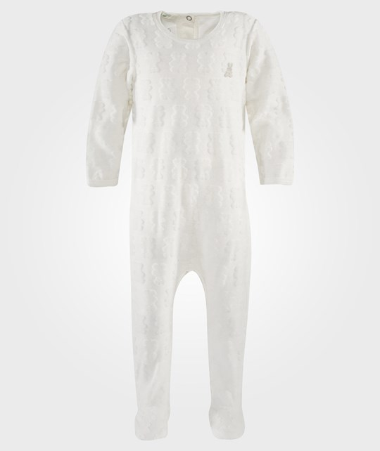 United Colors of Benetton Body Suit L/S With Teddy Imprints And Bunny Logo Off White Hvid