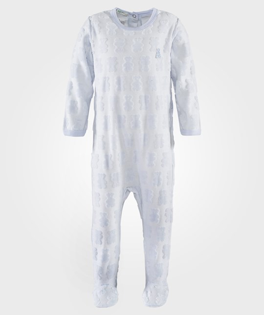 United Colors of Benetton Body Suit L/S With Teddy Inprints And Bunny Logo Blue Blå