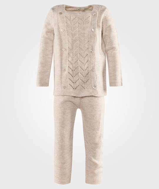 United Colors of Benetton Girls Knit Jumper And Trouser Set With Heart Details Beige Beige