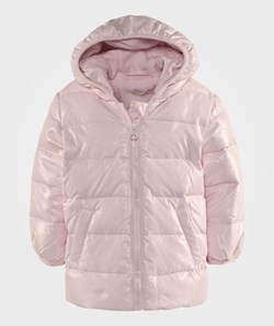 United Colors of Benetton Zip Up Shiny Puffa Jacket With Hood Pale Pink