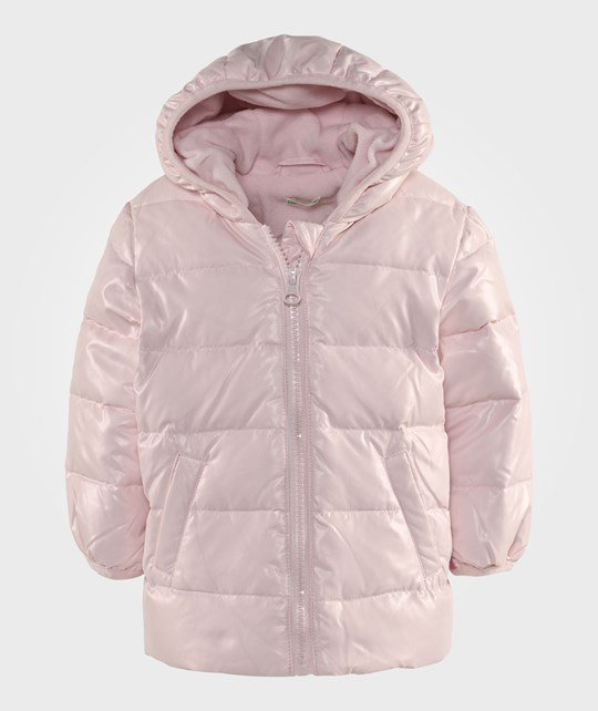 United Colors of Benetton Zip Up Shiny Puffa Jacket With Hood Pale Pink Rosa