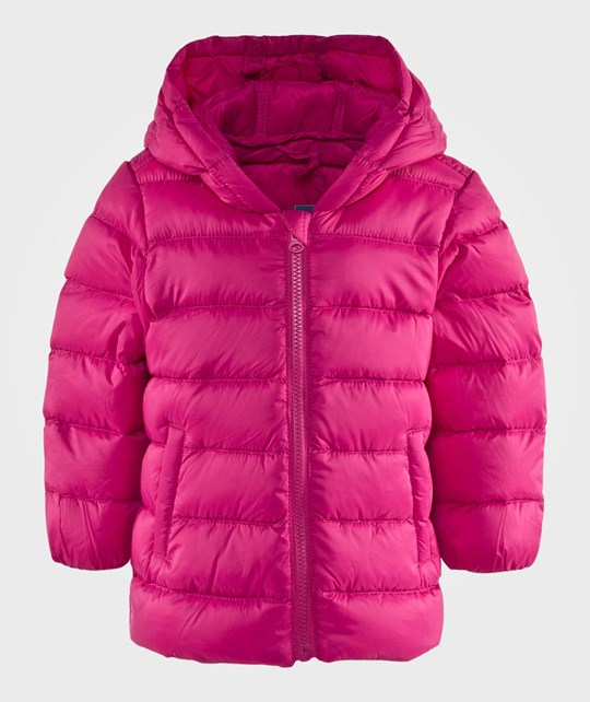 United Colors of Benetton Куртка Basic Zip Up Puffy Jacket With A Hood Fuschia Pink розовый