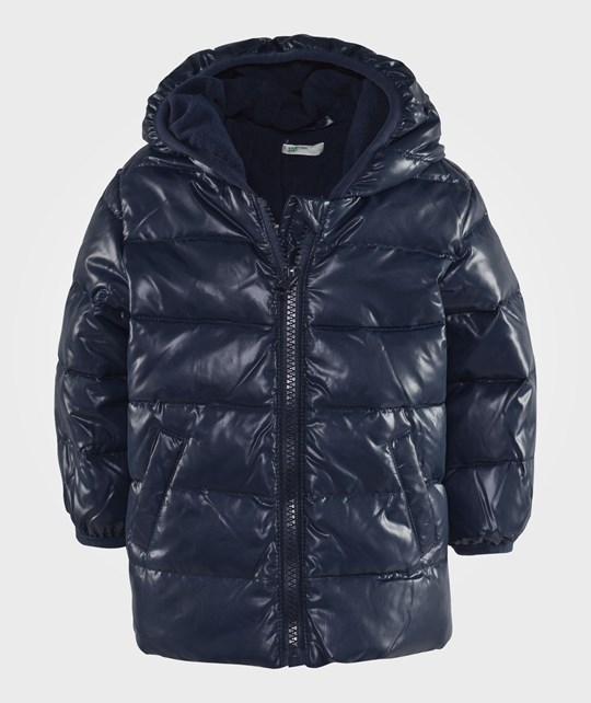 United Colors of Benetton Shiny Puffer Jacket In Navy  Blå