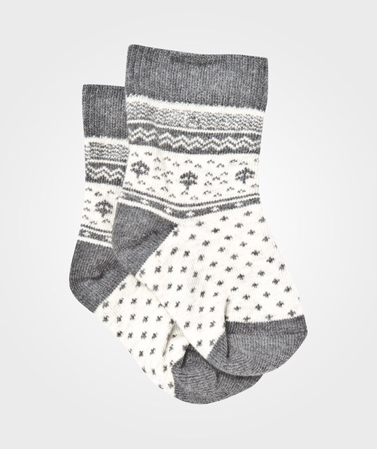 United Colors of Benetton 2 Pack Printed Baby Socks Off White White