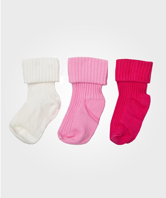 United Colors of Benetton 3 Pack Basic Single Colour Baby Socks Pink Lyserød