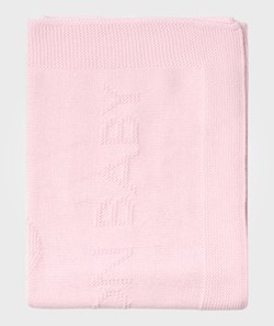 United Colors of Benetton Knitted Basic Benetton Baby Blanket With Bunny Motive Pale Pink