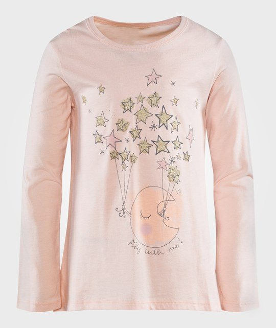 United Colors of Benetton Moon And Stars Print T-Shirt Pale Pink Rosa
