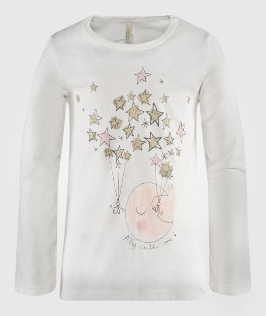 United Colors of Benetton Moon And Stars T-Shirt In Off White White