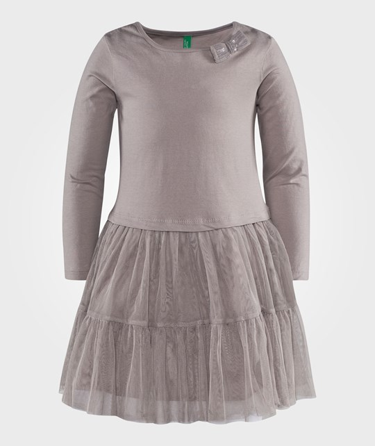United Colors of Benetton Jersey Dress With Tulle In Grey Grey