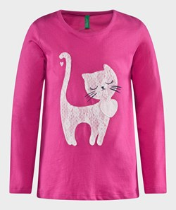 United Colors of Benetton Jersy T-Shirt With Cat Detail Pink
