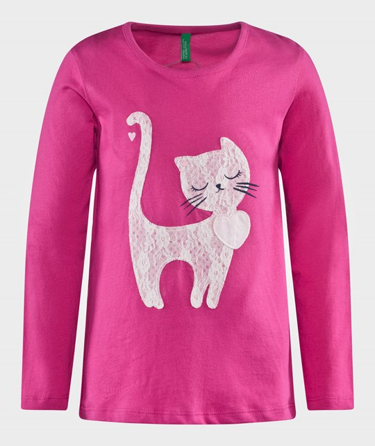 United Colors of Benetton Jersy T-Shirt With Cat Detail Pink Rosa
