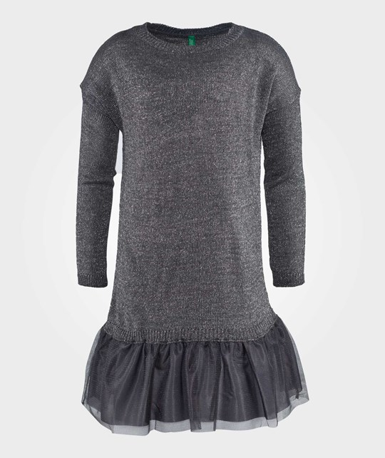 United Colors of Benetton Crew Neck Knit With Peplum Skirt  Dark Grey Grå