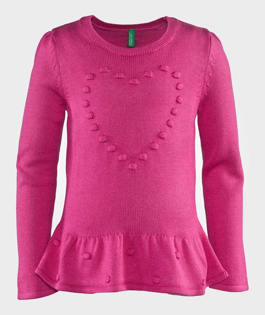 United Colors of Benetton Embossed Knit Peplum Jumper With Heart Detail Pink Rosa