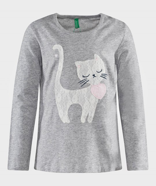 United Colors of Benetton Jersy T-Shirt With Cat Detail Grey Grey