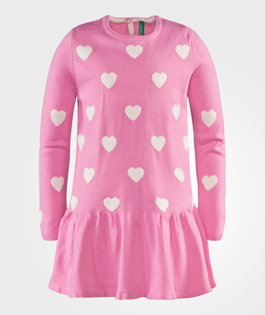United Colors of Benetton Wool Dress With Hearts Pink Pinkki