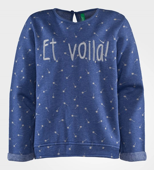 United Colors of Benetton Jersy Jumper With Cat Details Blue Blue