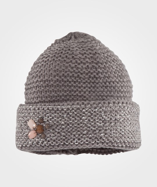 United Colors of Benetton Knitted Hat With Sequins And Jewels Grey Black