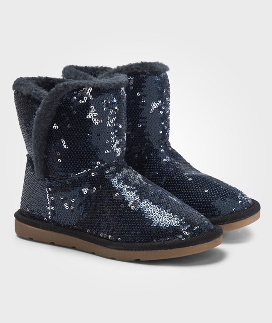 United Colors of Benetton Dark Grey Sparkly Sequin Mid Calf Boots Grå