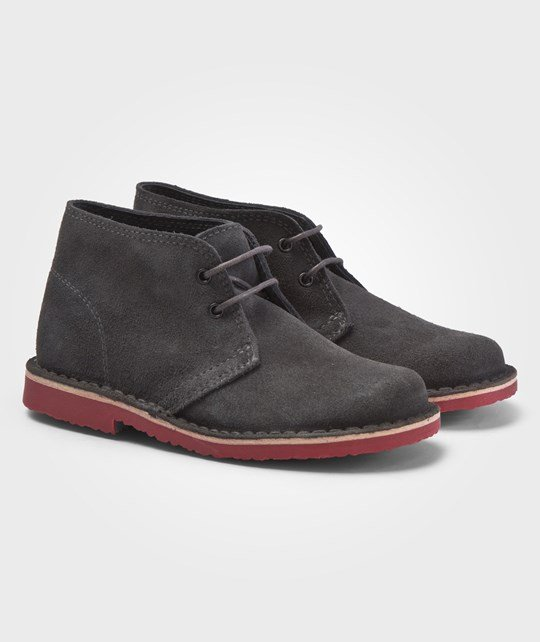 United Colors of Benetton Grey Lace Up Boots With Contrast Color Soles Grå